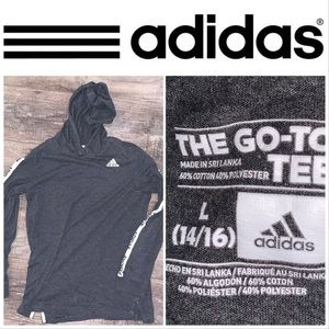 Youth Large Adidas Gray-White LS Hoodie